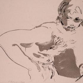 Kunst, Lithographie von Bernhard Lochmann, Selbstportrait