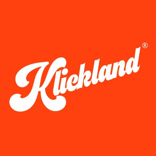 Das Logo von Klickland invertiert